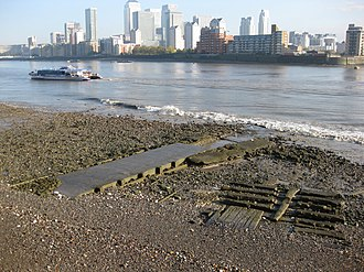 Deptford Wharf - Slipway remains and the culverted mouth of the Earl's Sluice.