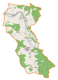 """Mapa konturowa gminy Czarny Bór, u góry po lewej znajduje się punkt z opisem """"Jaczków"""""""