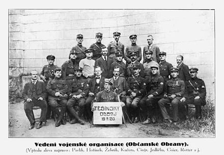 Leadership of the Civic Defence - Czech paramilitary organisation active in Cieszyn Silesia Czech military organisation.jpg