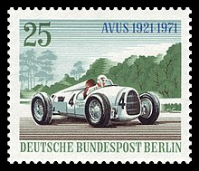 Timbre poste illustrant une Auto Union.