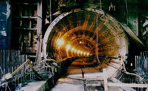 Washington Metro - Metro under construction at the Navy Yard in 1989