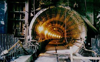 Washington Metro - Metro under construction at the Navy Yard in 1989
