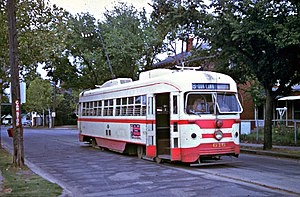 Oak Lawn, Dallas - A trolley running along a now-defunct trolleyline in 1948