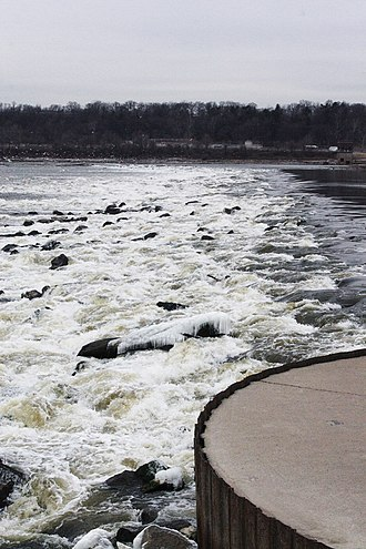 Chain of Rocks Lock - This low water dam across the Mississippi maintains a minimum pool level upstream of the locks.