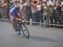 Damiano Cunego in azione durante la cronometro di Pontedera al Giro d'Italia 2006