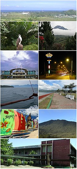 From top, left to right: Malita, Philippine Eagle Center, Mount Apo, Tagum City, Panabo City, Davao Gulf, Mati City, Island Garden City of Samal, Mount Hamiguitan, Digos City