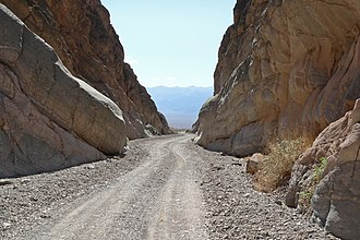 Titus Canyon - Titus Canyon Road, with view of Death Valley.