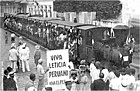 Decauville locomotive in Iquitos at celebration of Peru's victory in a border dispute with Colombia, 1932.jpg