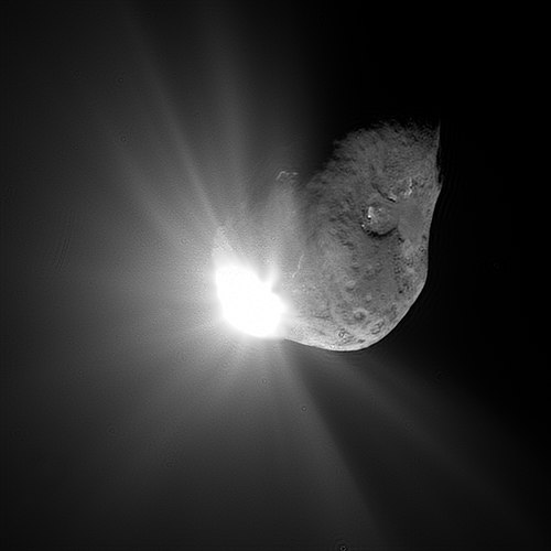 Comet Tempel 1 67 seconds after it collided with Deep Impact