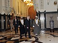 Defense.gov News Photo 101205-F-6655M-008 - Secretary of Defense Robert M. Gates walks with Omani Sultan Qaboos at the Bait Al Baraka Palace in Muscat, Oman, on Dec. 5, 2010.jpg