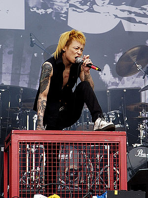 Dir En Grey - Kyo performing live at Rock im Park in 2006.