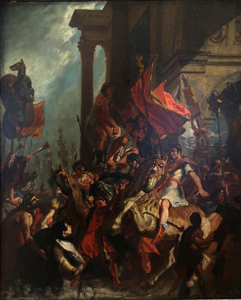 What Type Of Oil >> File:Delacroix - The Justice of Trajan, oil on canvas