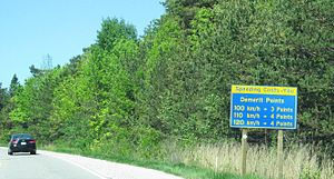 Point system (driving) - Warning sign in Ontario, Canada