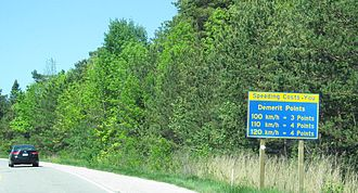 Speed limits in Canada - Speeding penalties on a rural Ontario highway