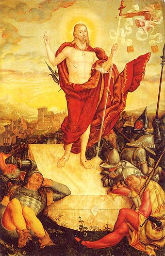 Resurrection of Jesus by Lucas Cranach, 1558 Der-Auferstandene 1558.jpg
