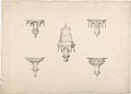 Design for Five Medieval Brackets, the Central One Bearing a Clock MET DP807267.jpg