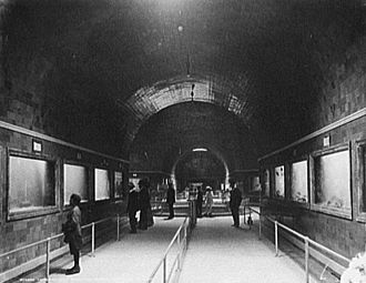 Public aquarium - Various aquariums at the Belle Isle Aquarium in Detroit, Michigan c. 1900