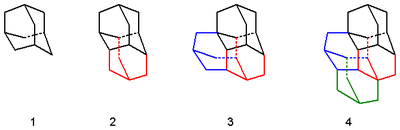 Diamondoids, from left to right adamantane, diamantane, triamantane and one isomer of tetramantane