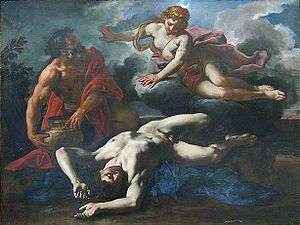 Orion (mythology) - Daniel Seiter's 1685 painting of Diana over Orion's corpse, before he is placed in the heavens