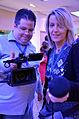 Die!!! Weihnachtsfeier 2013, 318 Andy hinter der Kamera und Susi mit dem Mikrofon vom Team Orga filmten, stellten Fragen, dokumentierten.jpg