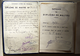 Therefore sign - A diploma from the Masonic Grande Loge de France showing the symbol as a substitute for the dot of abbreviation.