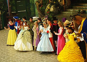 Disney Princess - left to right: Snow White, The Prince; Ariel, Prince Eric; Tiana, Prince Naveen; Rapunzel, Flynn Rider; Cinderella, Prince Charming; Prince Phillip, Aurora; Aladdin, Jasmine; Belle, the Beast (before returning to his human form) on February 14th, 2012.