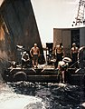 Divers working on severed bow of USS Pittsburgh (CA-72) in 1945.jpg