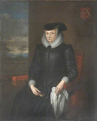 Dorothy Wadham - Undated portrait of Dorothy Wadham, with arms of Wadham impaling Petre. By Wilhelm Sonmans (d.1708), painted after her death, apparently a late copy. Collection of Wadham College, Oxford