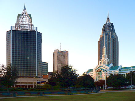 Downtown in 2008, as seen from Cooper Riverside Park. Buildings include (L to R): Renaissance Mobile Riverview Plaza Hotel, RSA-BankTrust Building, Arthur C. Outlaw Convention Center, and the RSA Battle House Tower. Downtown Mobile 2008 03.JPG