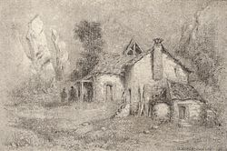 A finished sketch in graphite or charcoal depicting an old country cottage surrounded by trees, shrubs and outbuildings