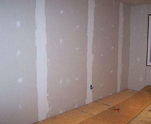 Joint compound - Drywall with joint compound applied.