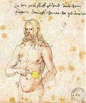 Dürer zeigt auf seine Milz, Skizze (Quelle: Wikimedia)