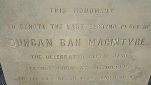 Duncan Ban MacIntyre - Duncan Ban MacIntyre Memorial Greyfriars Kirkyard