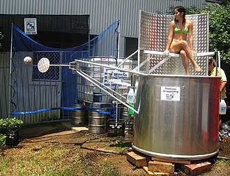 Dunk tank - The dunking mechanism on the typical dunk tank is triggered by a ball hitting a small target.