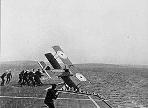 Edwin Harris Dunning - Dunning's Sopwith Pup veering off the flight deck of HMS Furious during his second and fatal attempt to land on the carrier while underway.
