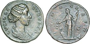 Lucilla - Dupondius depicting Lucilla Augusta (obverse) and Juno Regina with a peacock (reverse)