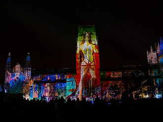 Lumiere festival - The projection display on Durham Cathedral during the 2015 Lumiere festival