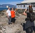Dutch Wikimedians photographing other Dutch Wikimedians on Robben Island (cropped).jpg