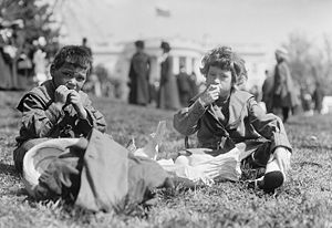 Two boys, White House Easter egg roll, 1911