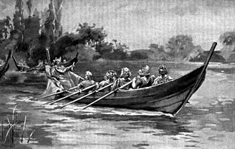 Máel Coluim, King of Strathclyde - An early twentieth-century depiction of Edgar being rowed down the River Dee by eight kings. According to the Anglo-Saxon Chronicle, Edgar met six kings at Chester. By the twelfth century, chroniclers alleged that eight kings rowed Edgar down the river in an act of submission. One of these eight was Máel Coluim himself.