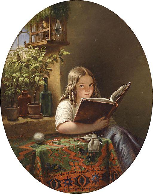 Eduard Klieber (Kopie nach Meyer von Bremen) Lesendes Mädchen 1855