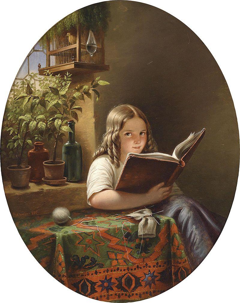 Eduard Klieber (Kopie nach Meyer von Bremen) Lesendes Mädchen 1855.jpg