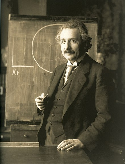 German-born scientist Albert Einstein (1879-1955) developed the theory of relativity. He also won the Nobel Prize in Physics in 1921 for his work in theoretical physics. Einstein 1921 by F Schmutzer - restoration.jpg
