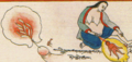 Ejaculation and childbirth in art from Illustration (Conception to Birth) from Ornament to the Mind of Medicine Buddha- Blue Beryl Lamp Illuminating Four Tantras written about 1720 by Desi (Regent of Tibet) Sangye Gyatso (cropped).png