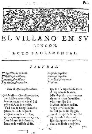 "Autos sacramentales - First page of ""El villano en su rincón,"" an auto sacramental by Lope de Vega first published in 1617."