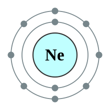 An atomic shell diagram with neon core, 2 electrons in the inner shell and 8 in the outer shell.