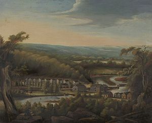 Hamden, Connecticut - An 1827 painting of Whitneyville by William Giles Munson.