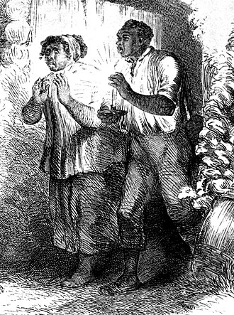 Uncle Tom - Detail of an illustration from the first book edition of Uncle Tom's Cabin, depicting Uncle Tom as young and muscular.