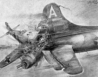 "Jagdgeschwader 300 - A 1944 drawing by Helmuth Ellgaard illustrating ""ramming"""