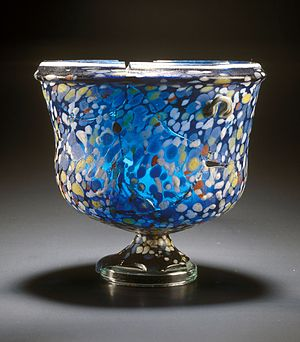 Emona - Roman cup of multicolored glass, made with the millefiori technique. It was discovered in one of the graves of Emona.